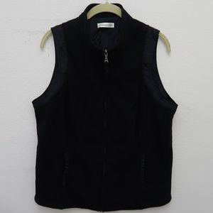 Coldwater Creek Black Full Zip High Neck Vest
